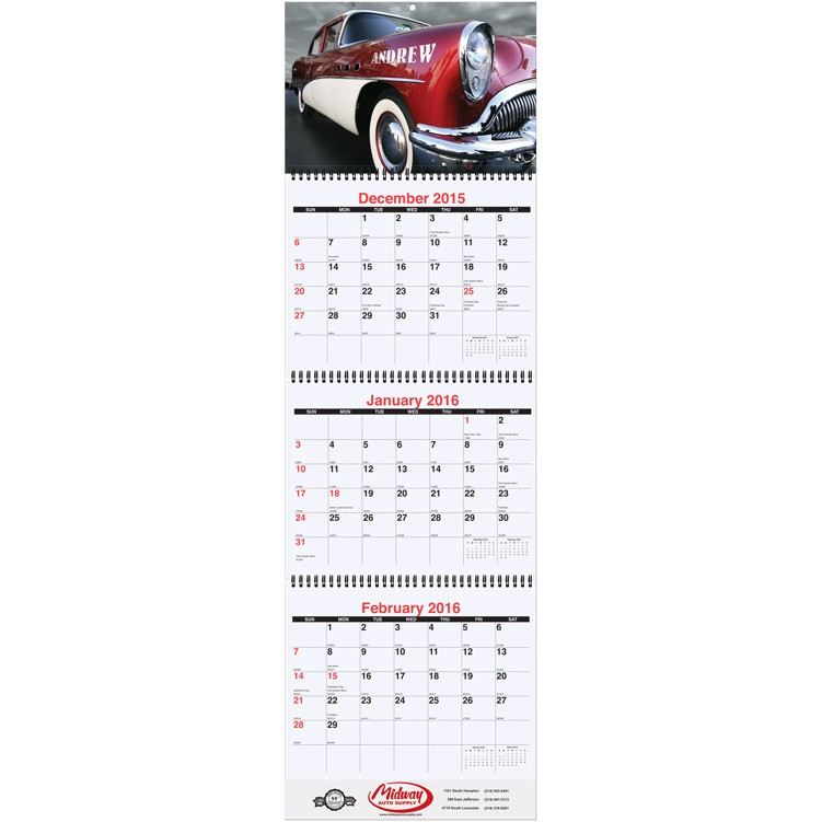 "10 3/4""x35"" Large Personalized Image Calendar"