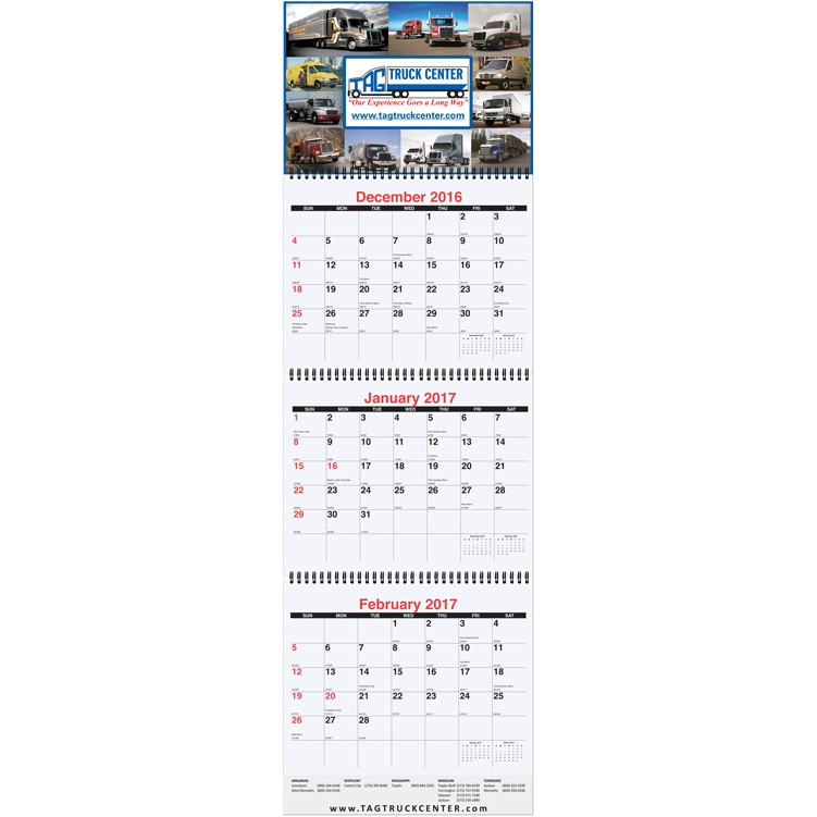 10 3 4 x35 large three month at a glance calendars w apron drum
