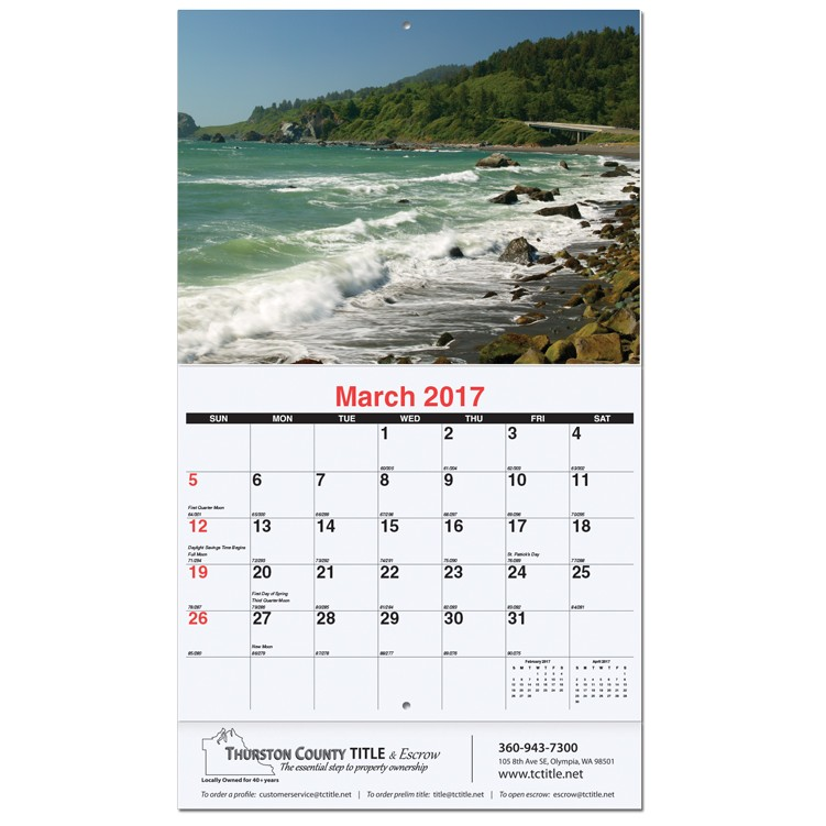 "10 5/8""x18 1/4"" American Coasts Monthly Wall Calendars w/ Stapled"
