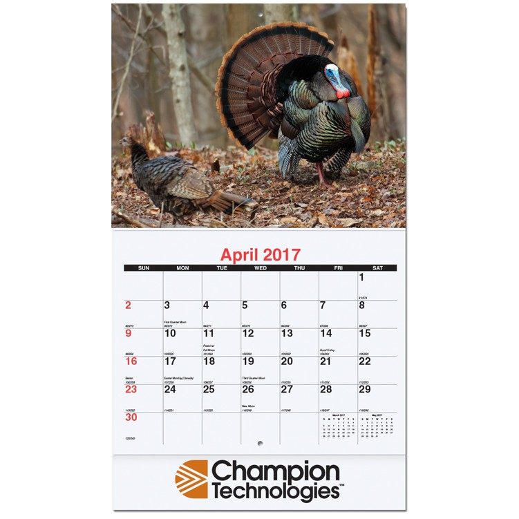 "10 5/8""x18 1/4"" American Wildlife Monthly Wall Calendars w/ Stapled"
