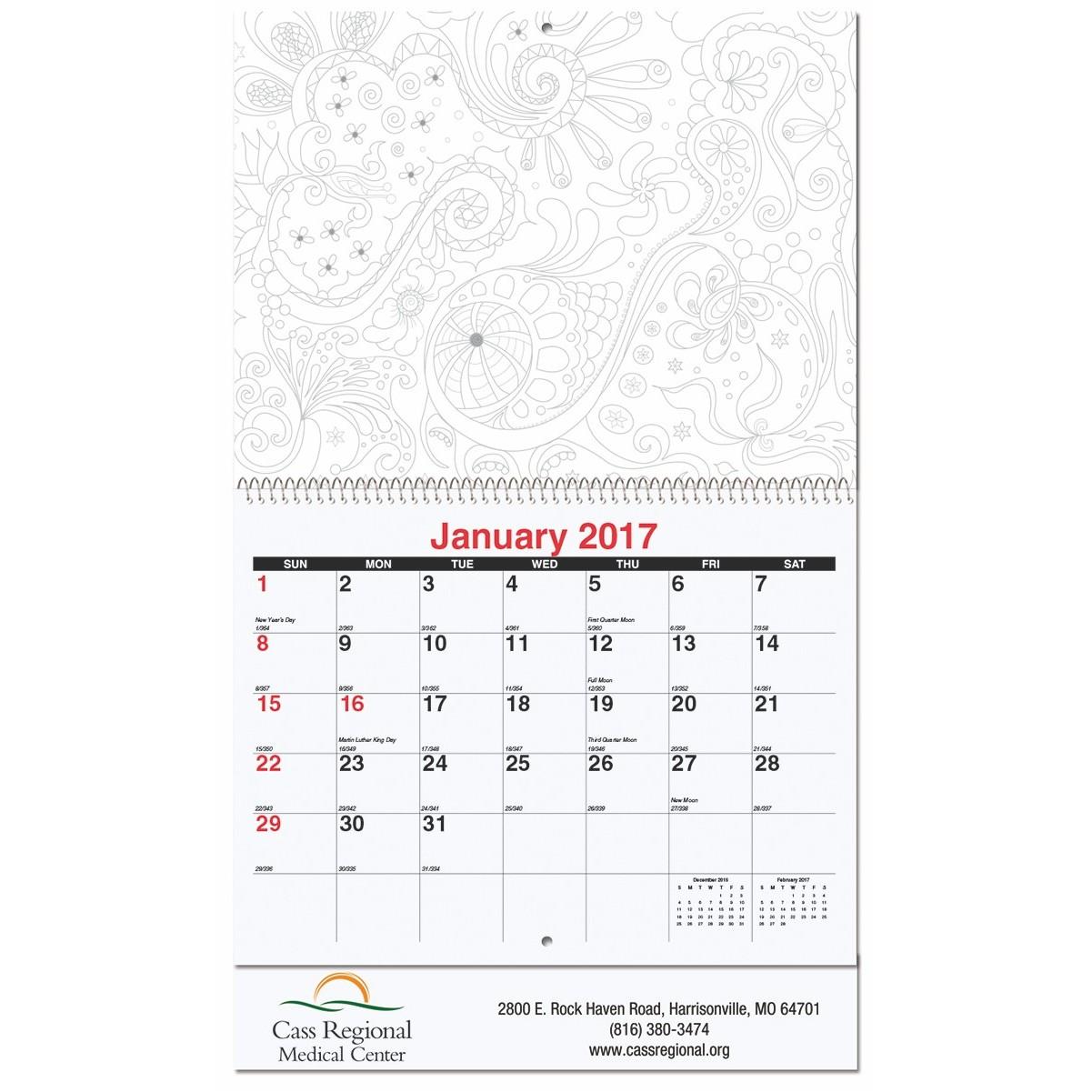 "10 5/8""x18 1/4"" Color Your Calendar w/ Coil Bound"