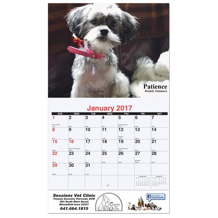 "10 5/8""x18 1/4"" Custom 13 Photo Wall Calendars w/ Stapled Bound"