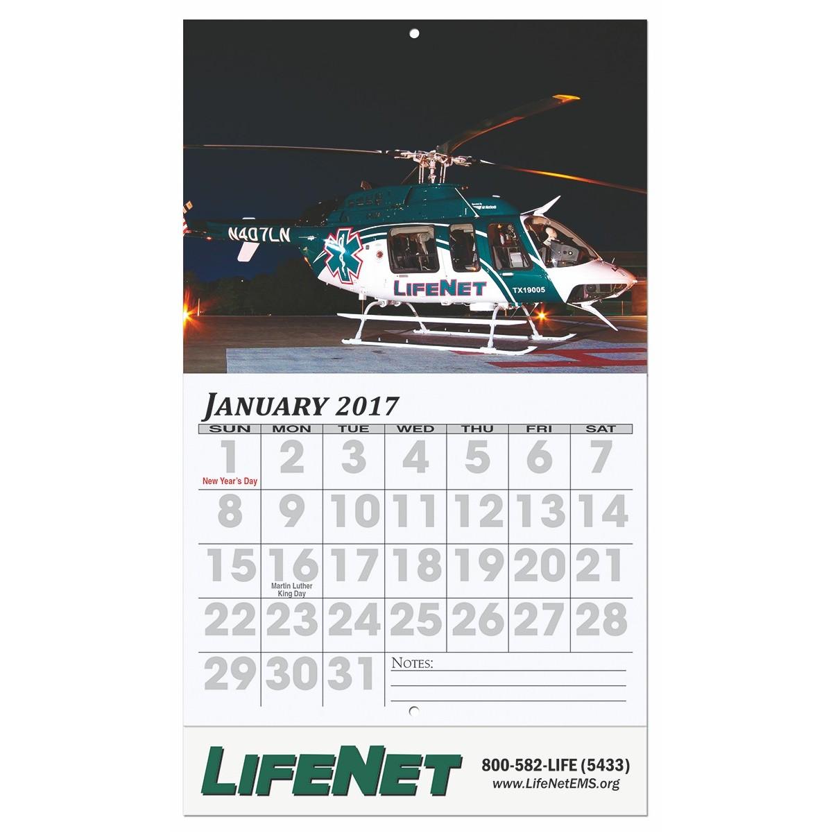 "10 5/8""x18 1/4"" Easy Read Wall Calendar w/ Stapled"