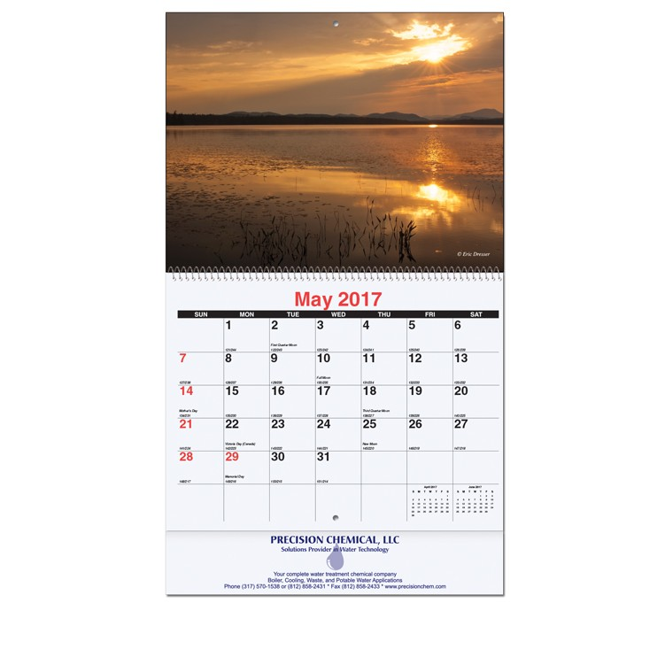 "10 5/8""x18 1/4"" Majestic Outdoors Monthly Wall Calendars w/ Coil Bound"