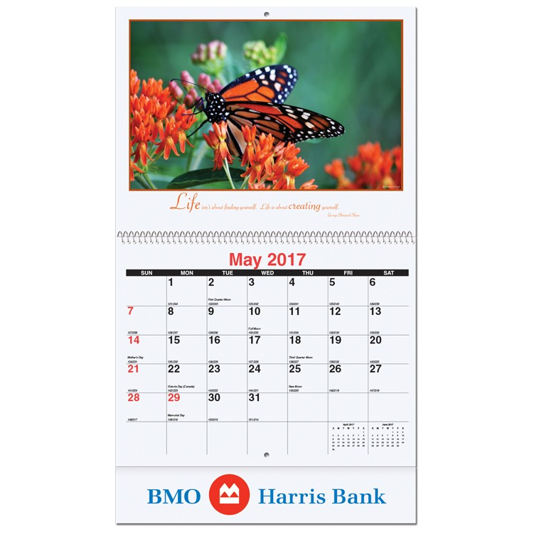 """10 5/8""""x18 1/4"""" Motivations Monthly Wall Calendars w/ Coil Bound"""