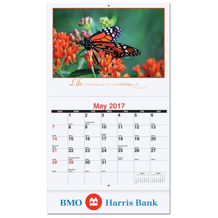 """10 5/8""""x18 1/4"""" Motivations Monthly Wall Calendars w/ Stapled"""