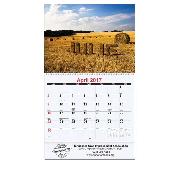 """10 5/8""""x18 1/4"""" Personalized Image Full Size Wall Calendars w/ Coil Bound"""