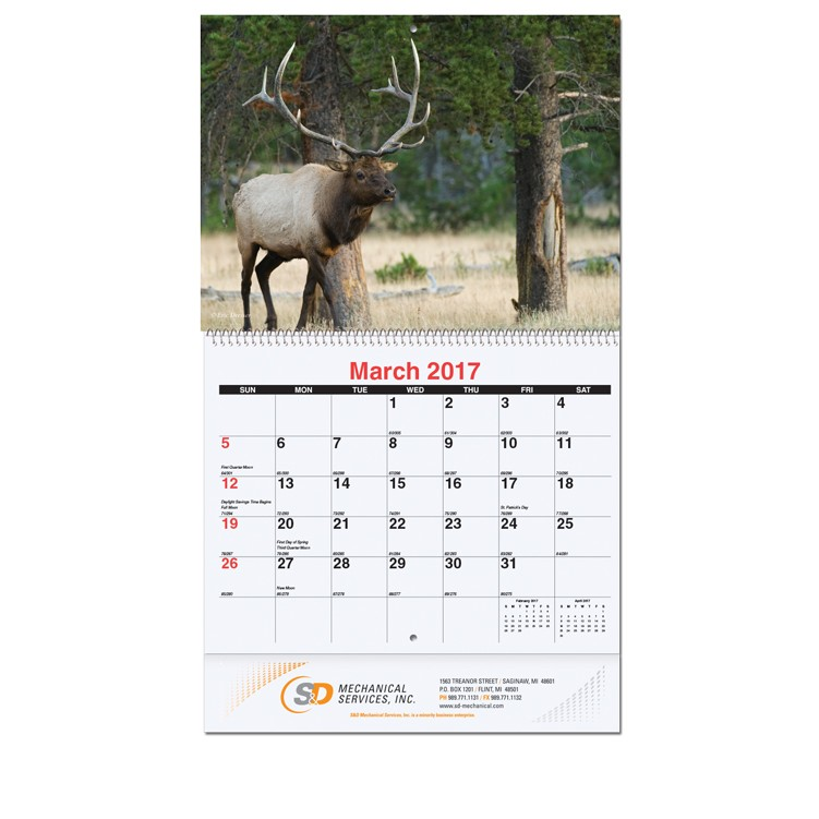 "10 5/8""x18 1/4"" Wildlife Monthly Wall Calendars w/ Coil Bound"