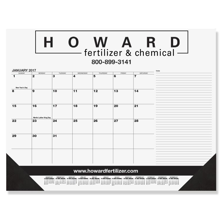 "21 3/4""x17"" Black Calendar Desk Pads w/ Side Notes Line"