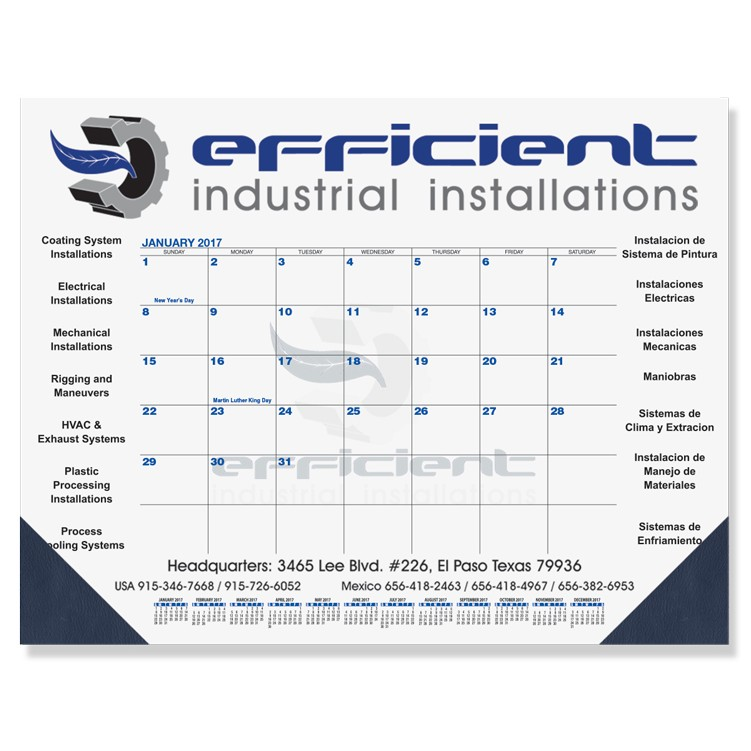 "21 3/4""x17"" Blue & Black Calendar Desk Pads"