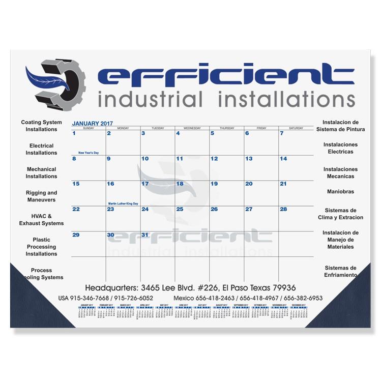 "21 3/4""x17"" Blue & Black Calendar Desk Pads"