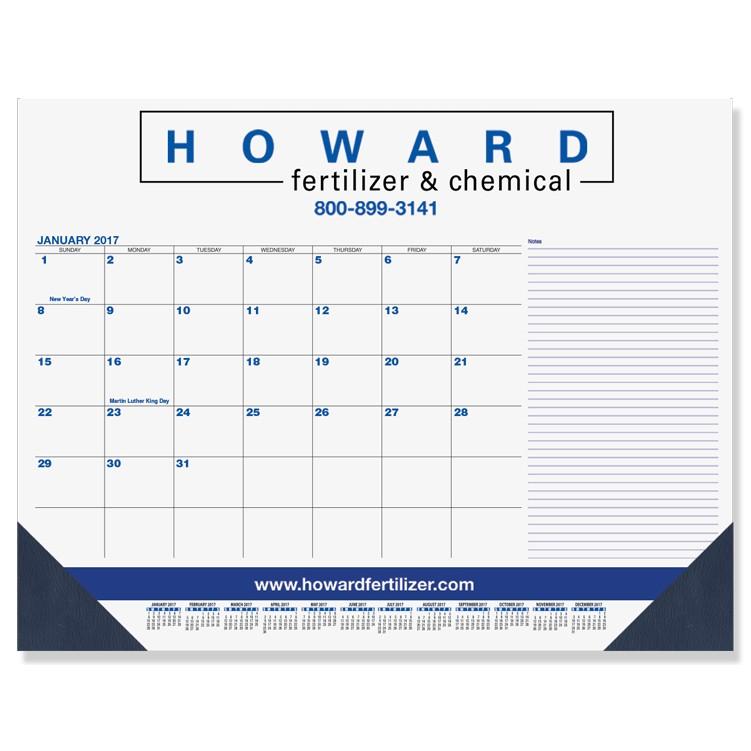 "21 3/4""x17"" Blue & Black Calendar Desk Pads w/ Side Note Lines"