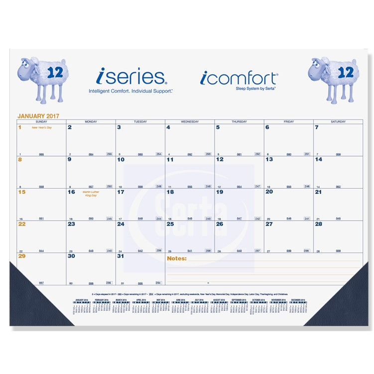 "21 3/4""x17"" Blue & Gold Calendar Desk Pads w/ Julian & Contractor Dates"