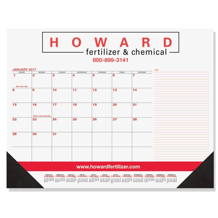 "21 3/4""x17"" Red & Black Calendar Desk Pads w/ Side Note Lines"
