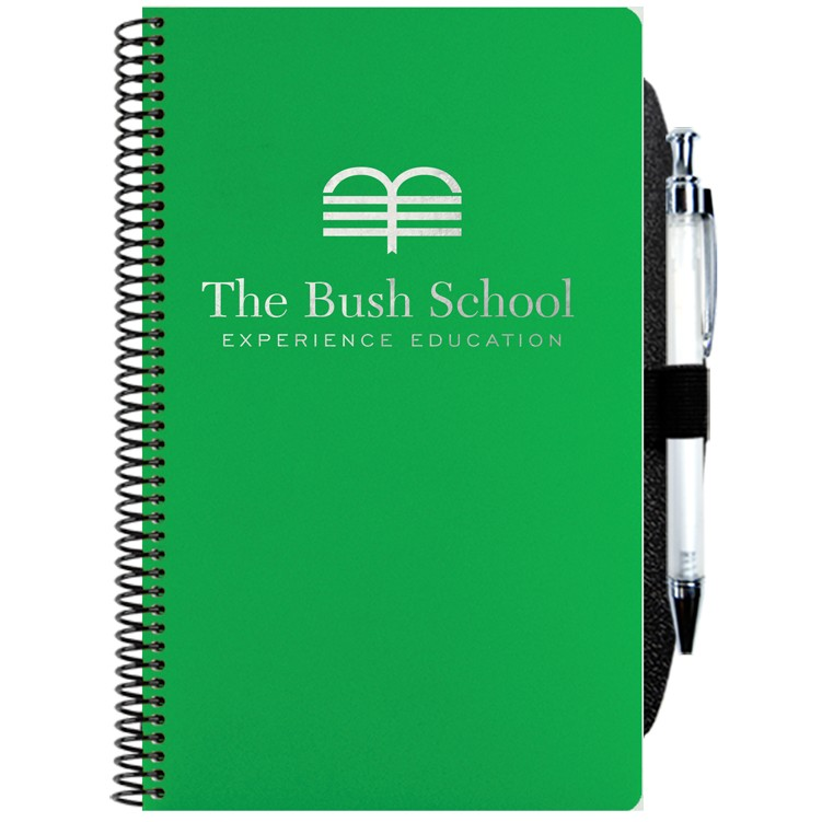 "5 1/4""x8 1/4"" Poly Cover Academic Weekly Planner w/ Pen Safe Back & Pen"