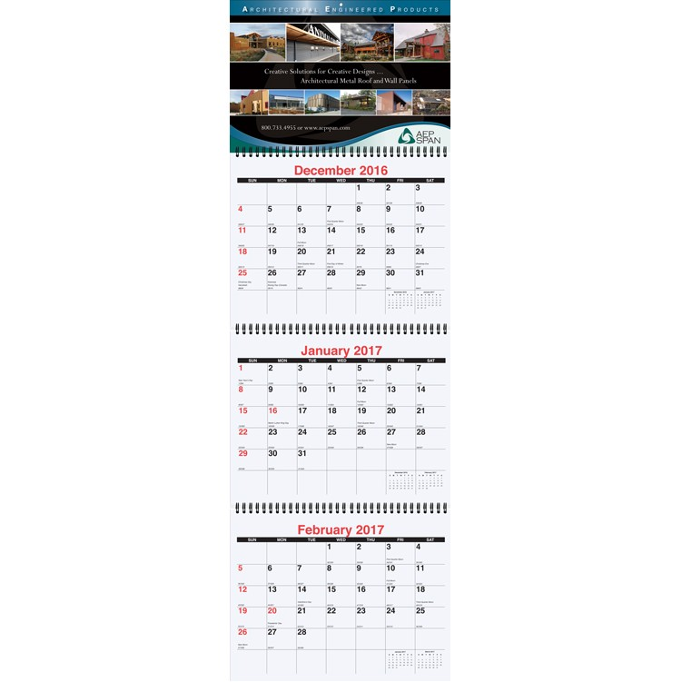 6x18 34 Small Three Month at a Glance Calendars Drumline Branded