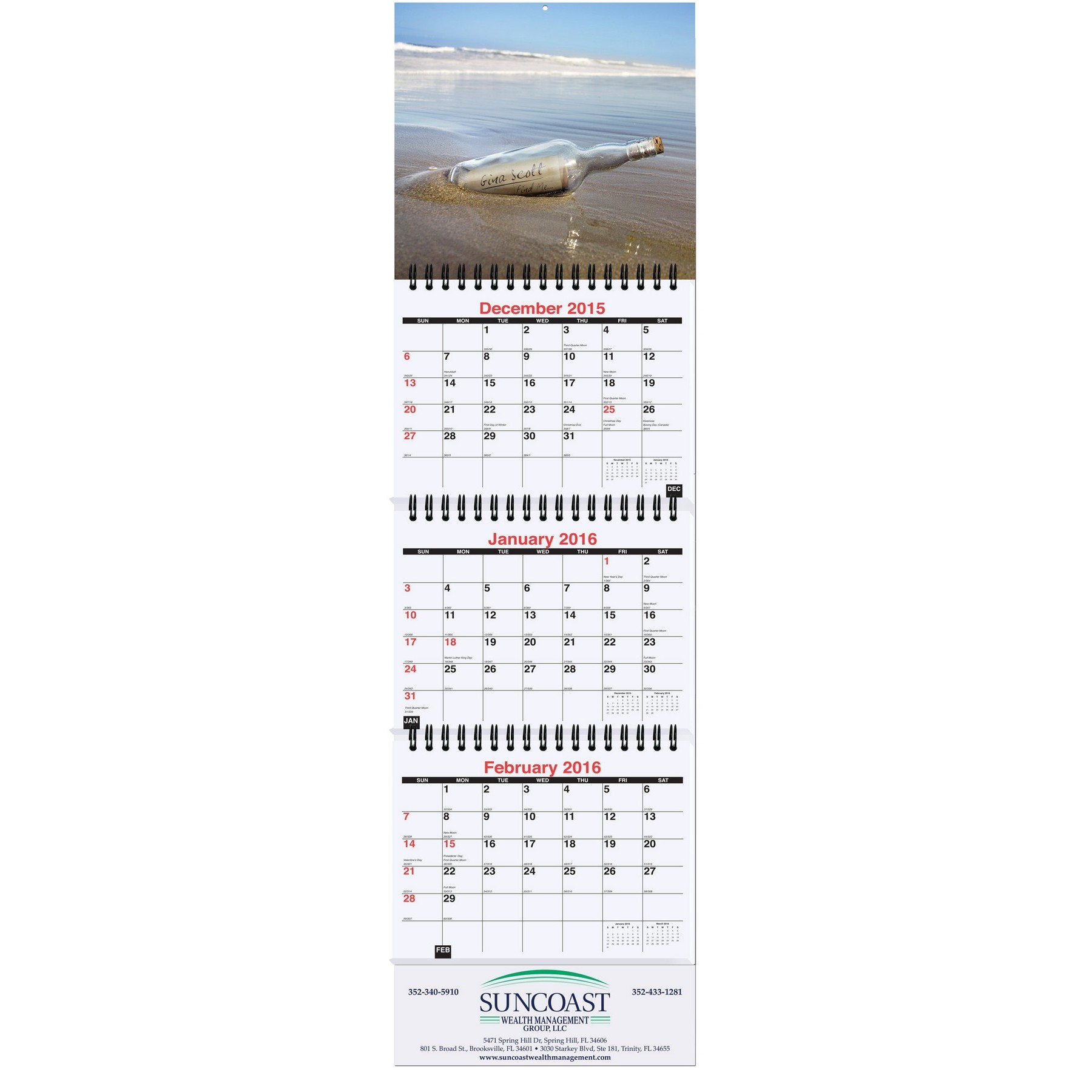 """6""""x20 3/4"""" Small Personalized Image Calendar"""
