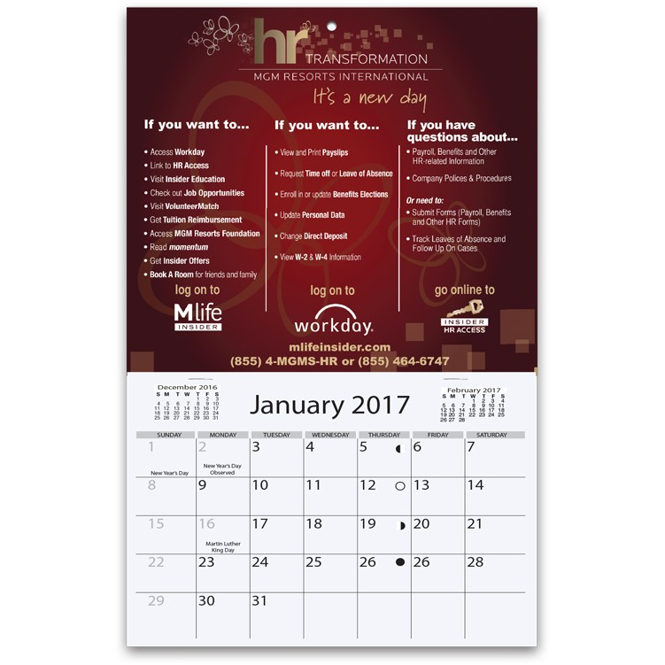 "6""x4 1/2"" Mini Wall Calendars w/ 1 Custom Photo/Imprint"