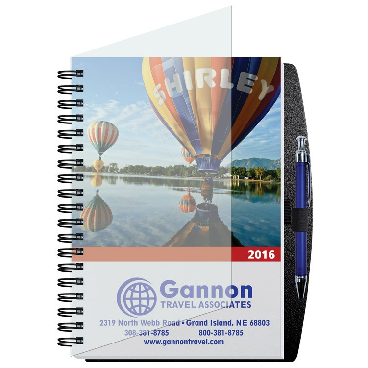 """7""""x10"""" Personalized Image Time Managers Calendars w/ Pen Safe Back Cover"""