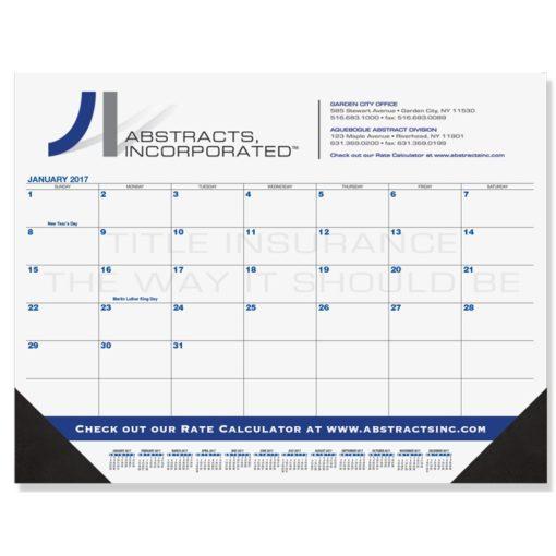 "21 3/4""x17"" Black & Black Calendar Desk Pads"