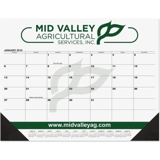 "21 3/4""x17"" Black Calendar Desk Pads"