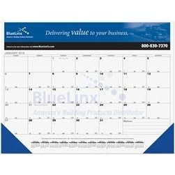 "21 3/4""x17"" Black Calendar Desk Pads w/ Julian & Contractor Dates"