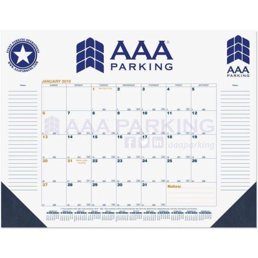 """21 3/4""""x17"""" Blue & Gold Calendar Desk Pads w/ Julian & Contractor Dates - 2 Margins"""