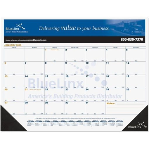 """21 3/4""""x17"""" Blue & Gold Calendar Desk Pads w/ Julian & Contractor Dates"""