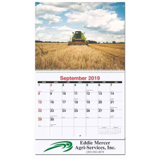 """10 5/8""""x18 1/4"""" Agriculture Monthly Wall Calendars w/ Coil Bound"""