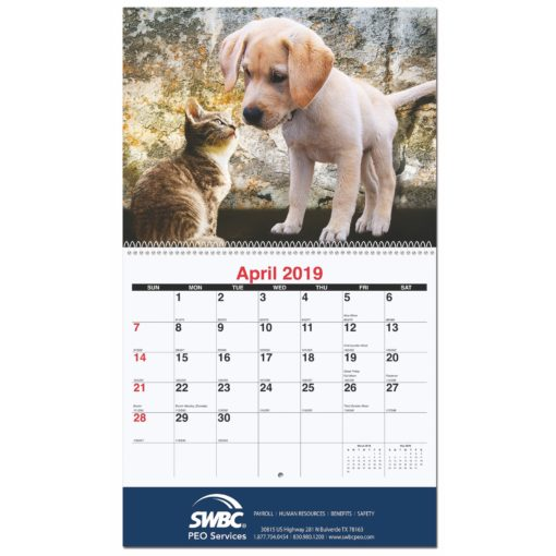 "10 5/8""x18 1/4"" Furever Friends Monthly Wall Calendars w/ Coil Bound"