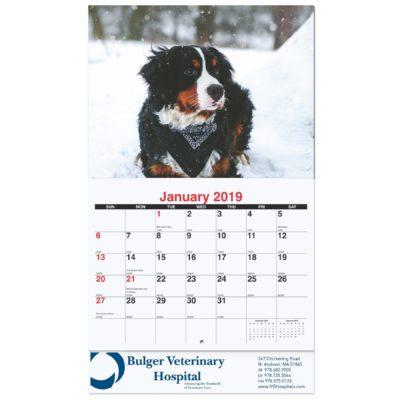 "10 5/8""x18 1/4"" Furever Friends Monthly Wall Calendars w/ Stapled"