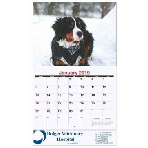 "10 5/8""x18 1/4"" Furever Friends Monthly Wall Calendars w/ Stapled"