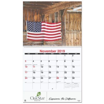 """10 5/8""""x18 1/4"""" Old Glory Monthly Wall Calendars w/ Coil Bound"""