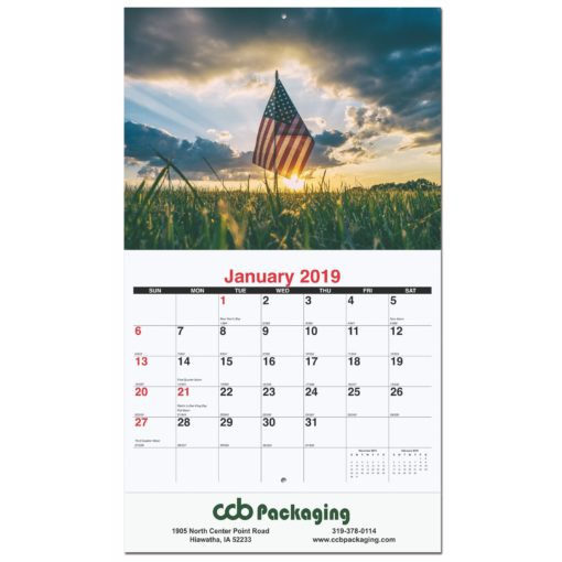 """10 5/8""""x18 1/4"""" Old Glory Monthly Wall Calendars w/ Stapled"""