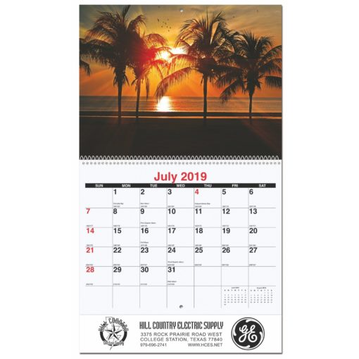 """10 5/8""""x18 1/4"""" Serene Sunsets Monthly Wall Calendars w/ Coil Bound"""