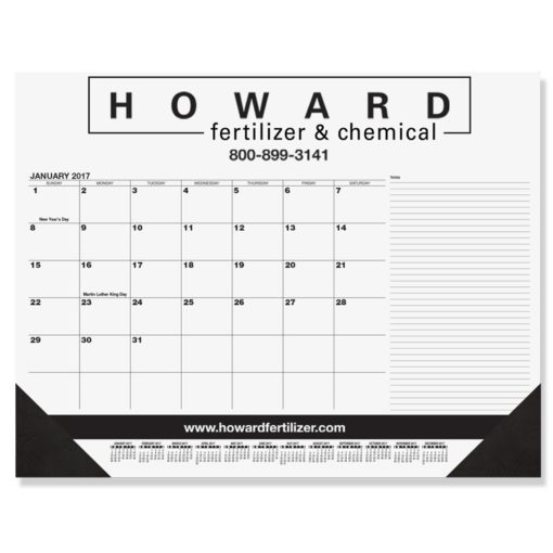 "21 3/4""x17"" Black Calendar Desk Pads w/ Side Notes Line"