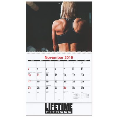 "10 5/8""x18 1/4"" Active Lifestyle Monthly Wall Calendars w/ Coil Bound"