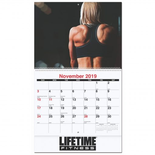 """10 5/8""""x18 1/4"""" Active Lifestyle Monthly Wall Calendars w/ Coil Bound"""