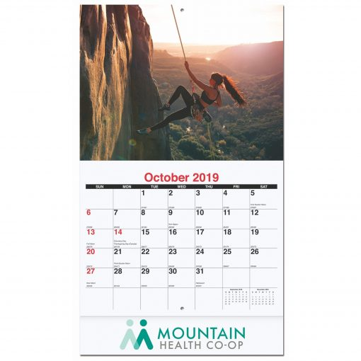"10 5/8""x18 1/4"" Active Lifestyle Monthly Wall Calendars w/ Stapled"