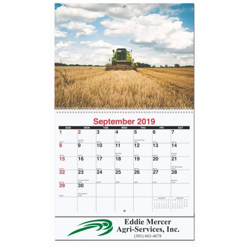 "Agriculture Monthly Wall Calendars w/Coil Bound (10 5/8""x18 1/4"")"