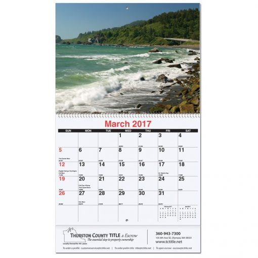 "American Coast Monthly Wall Calendars w/Coil Bound (10 5/8""x18 1/4"")"