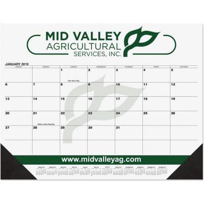 """Black Calendar Desk Pads w/Two Color Imprint (21 3/4""""x17"""")"""