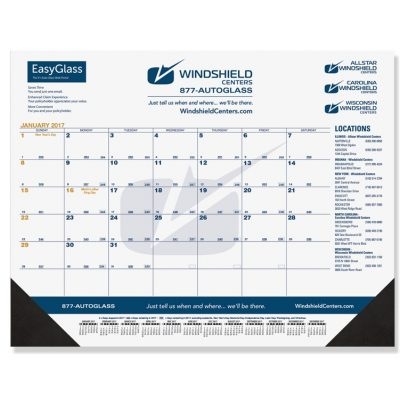 "Black & Gold Calendar Desk Pads w/One Color Imprint (21 3/4""x17"")"