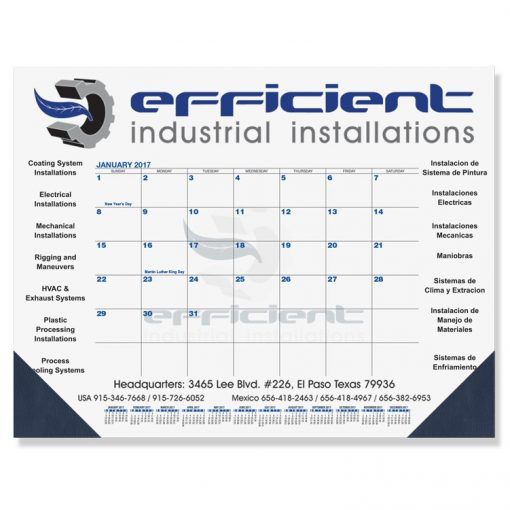 "Blue & Black Calendar Desk Pads w/One Color Imprint (21 3/4""x17"")"