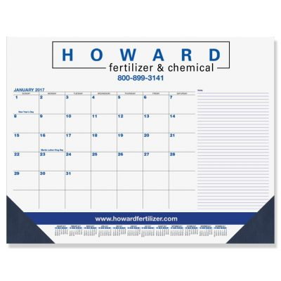 "Blue & Black Calendar Desk Pads w/Side Note Lines & One Color Imprint (21 3/4""x17"")"