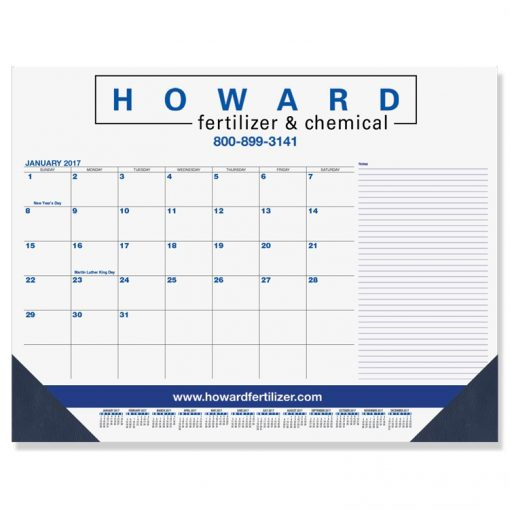 "Blue & Black Calendar Desk Pads w/Side Note Lines & One Color Imprint (21 3/4""x17"")"