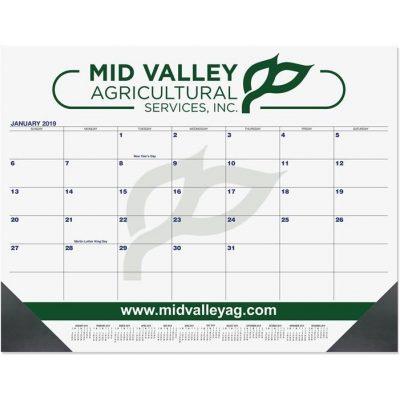 """Blue & Black Calendar Desk Pads w/Two Color Imprint (21 3/4""""x17"""")"""
