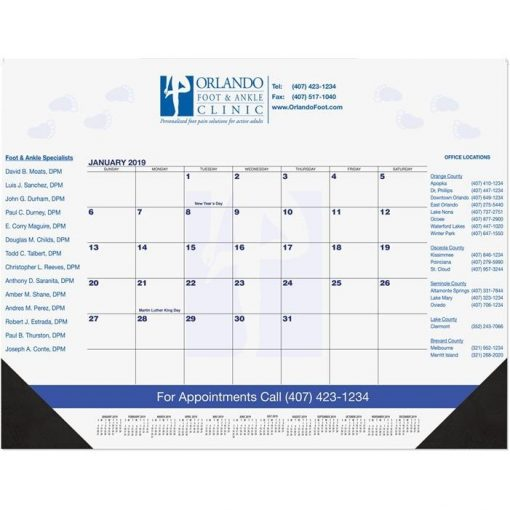 "Blue & Black Calendar Desk Pads w/Two Color Imprint (21 3/4""x17"")"