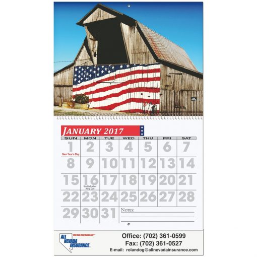 "Easy Read Wall Calendar w/Coil Bound (10 5/8""x18 1/4"")"