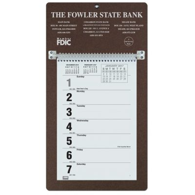 """Foil Stamped Weekly Calendars w/Sunday Start (7""""x13"""")"""